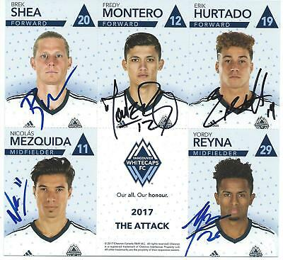 2017 Vancouver Whitecaps Signed Cheveron Team Cards Sheet 3 of 3 Autographed COA