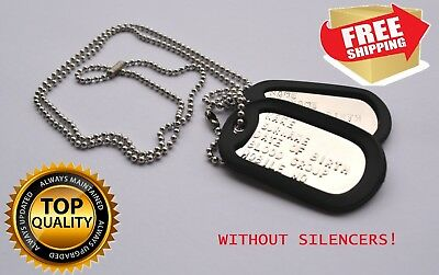 "MILITARY DOG TAGS Army Dog Tags 2 x CHAINS 30"" & 4"" PERSONALIZED FREE !"