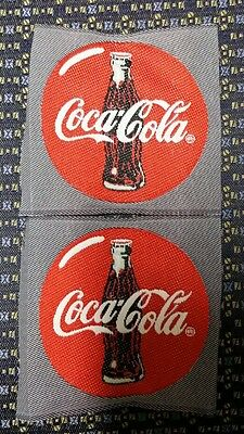 """Lot of 2 COCA COLA WOVEN LABEL  Sew-On 2.75"""" X 2.75"""