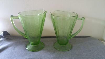 "FLORAL POINSETTIA Footed Cone Pitchers Jeannette Green Depression Glass 8"" 32oz"