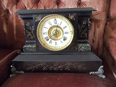 "Antique Large Black Iron/Metal Victorian Ornate Mantel Clock "" Not Working """