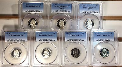 1974-S - 1979-S Jefferson Nickel Lot of 7 coins  with type 1 & 2 PCGS PR69DCAM