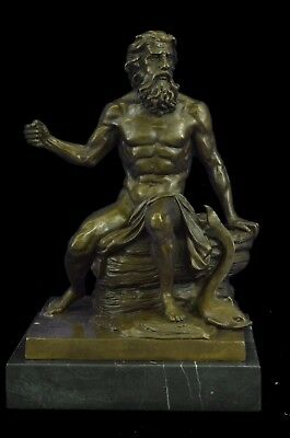 Sculpture Statue LARGE Sitting Poseidon W Trident GREEK MYTHOLOGY God of Sea 10