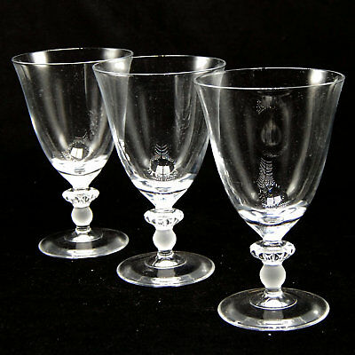 3 La Clusaz Cristal D Arques Durand Water Goblets Glass Clear Frosted Ball Stem