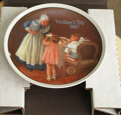 """""""Grandma's Surprise"""" Mother's Day 1987- Norman Rockwell- Knowles China Co."""