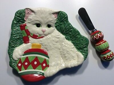 Fitz and Floyd Yuletide Kitten/ Cat W/ Ornament  Plate/ Dish With Spreader.