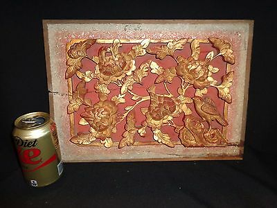 Antique Chinese Carved Relief Wood Architectural Salvage Panel, Bird & Flowers
