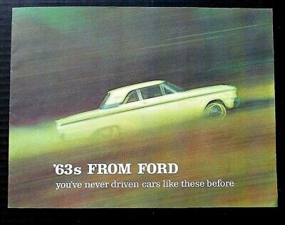 "Original 1963 Ford Full Line Sales Brochure ~16 Pages~ 8.5"" X 11"" ~F16~Excellent"