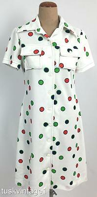 VINTAGE 60s 70s WHITE large red navy green SPOTS polka dots poly day dress 12
