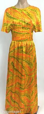 VINTAGE 70s GOLDEN orange green SILKY abstract striped print MAXI DRESS 6 8