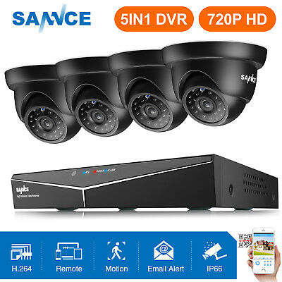 SANNCE 5in1 HD 1080N 8CH DVR 720P In/Outdoor IR Day Night Security Camera System
