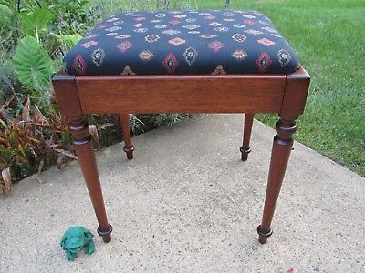 Antique Mahogany Trumpet Legs Organ / Vanity / Sewing Machine Bench Restored
