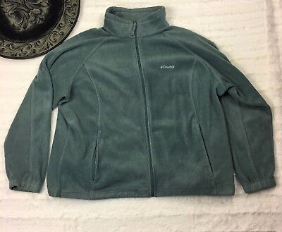 Columbia Men's Size 3x Green Fleece Jacket Full Zip Lightweight Pullover Fuzzy