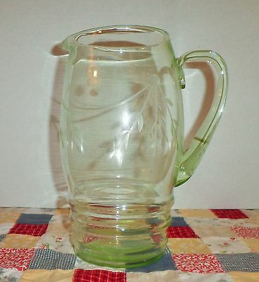 Gorgeous Vintage Green Vaseline Glass Leaf Motif Pitcher