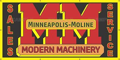 Minneapolis Moline Modern Machinery Tractor Sign Remake Banner Mural Art 3' X 6'