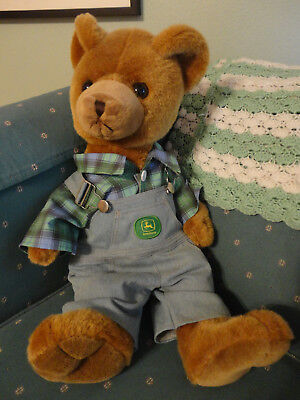 "2008 Bear Works 23"" John Deere Teddy with Overall Green Plaid Shirt"