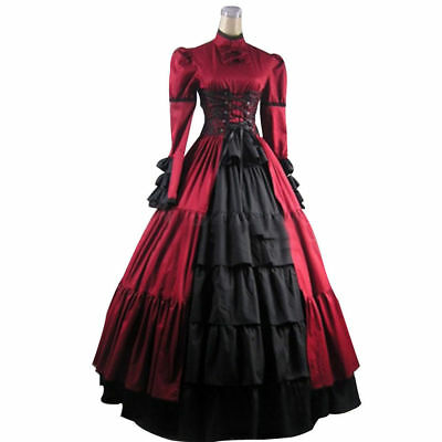 Victorian Gothic Corset Vampire Dress Steampunk Halloween Cosplay Costume Props
