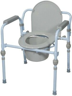 Drive Folding Bedside Commode with Bucket Splash Guard Portable Bathroom Potty