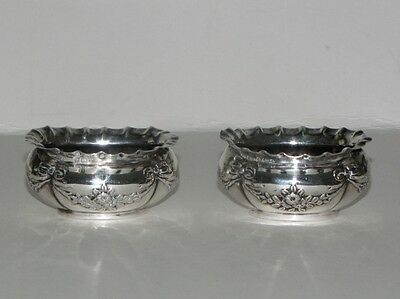 Pair of Sterling Silver Salt Cellars, Birmingham by H. Mathews, C 1900