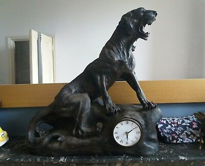 jaguar statue clock antique large cat ornament decorative piece bronze like.