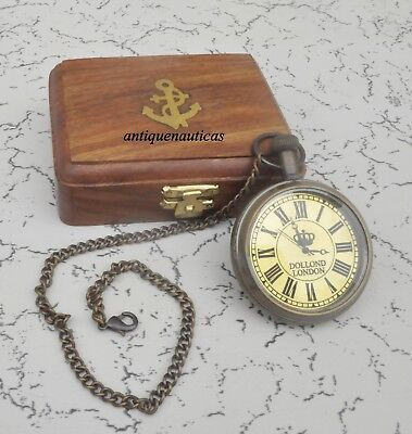 Antique Brass Dollond London Nautical Pocket Chain Watch Gift With Wooden box