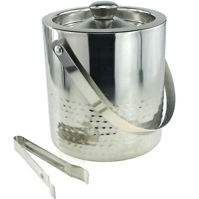 Double Walled Stainless Steel Hammered Insulated Ice Bucket With Tongs 1.5 Ltr