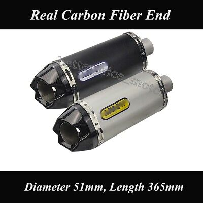 """Universal Motorcycle 2"""" 51mm Exhaust Muffler Pipe With Removable DB Killer 365mm"""