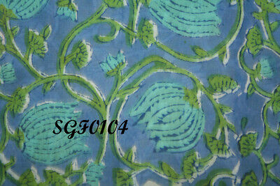 Blue Fabric oN Green Floral Print Cotton Fabric Au 89.99 $ FOR QUICK SALE