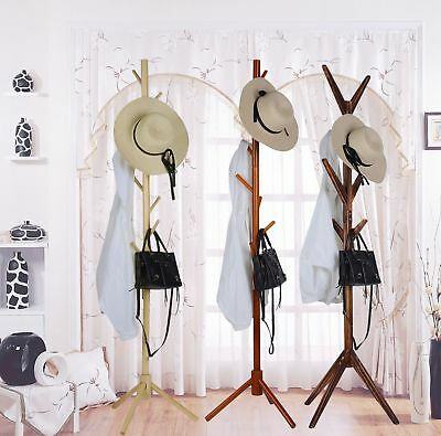 8 Hooks Wooden Hat Coat Rack Stand Walnut Clothes Hanger Cloth Rack Stand ON