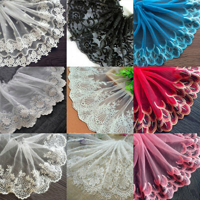 Floral Lace Embroidered Trim Tulle Wedding Bridal Dress Clothes Sewing Craft DIY