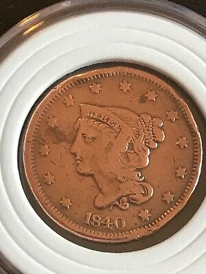 1840 UNITED STATES OF AMERICA ONE CENT WITH Bankers mark in back of coin