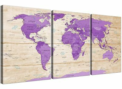 Large Purple Cream Map of the World Atlas Canvas Wall Art - Multi 3 Panel - 3312