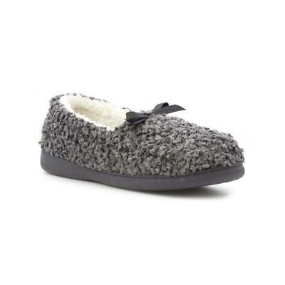 The Slipper Company - Womens Grey Towelling Moccasin Slipper - Sizes 3,4,5,6,7,8