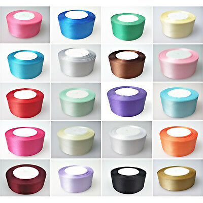 25m x 25mm Double Sided Satin Ribbons Full Roll Trim Arts & Craft Decoration UK