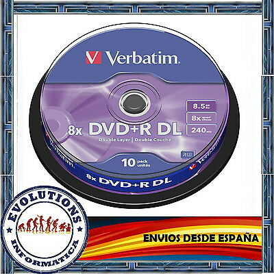 Envio Urgente Tarrina 10 Dvd+R Dl Doble Capa Verbatim 8.5Gb 8X No 50 100 200 -R