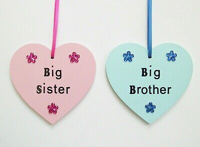 Big sister big brother gift, gift from new baby, wooden heart plaque keepsake