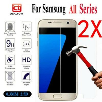2 Pack Premium Tempered Glass Screen Protector for Samsung Galaxy S7 Note 3 4 5