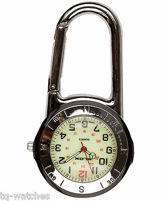Silver Clip-on Carabiner FOB Watch for Doctors, Paramedics Nurses Chefs & Sports
