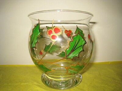 Lenox Holiday Glass Footed Hurricane Votive Candle Holder Hand Painted Italy New