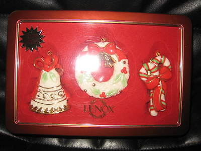 Lenox 2003 Tin Box Ornament Set Of Three Wreath - Bell - Candy Canes New In Box