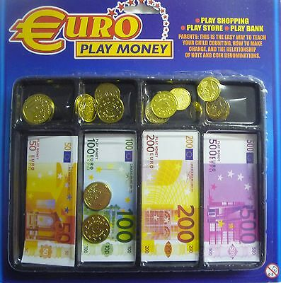 Tray of Euro Play Toy European Money (Notes and Coins) Great for Holiday Fun