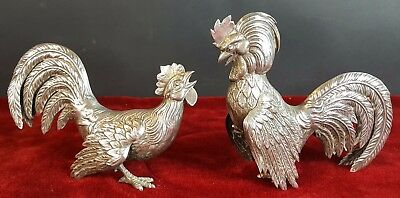 Couple Of Roosters. Solid Silver. Twentieth Century.