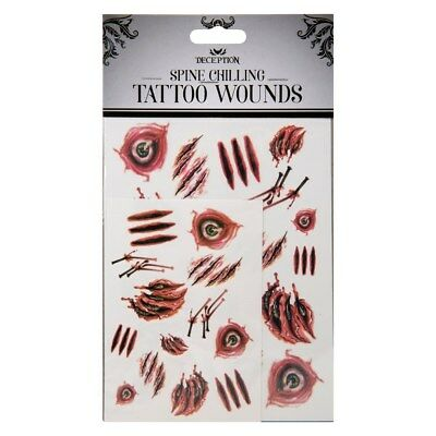 Halloween Fake Tattoos Horror Make-up Stitches Cuts Scars Burns Blood Costume