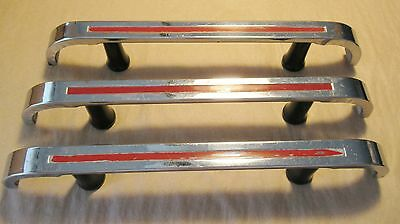 REDUCED! Vintage 1950's Chrome Drawer Cabinet Pulls Red Lines Art Deco Handles