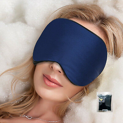 Silk Eye Sleep Mask w/ Ear Plugs & Carry Pouch , Soft, Comfortable, Light, Blue