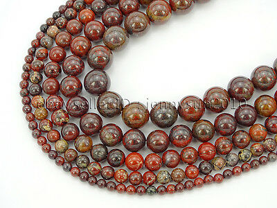 Natural Poppy Jasper Gemstone Round Spacer Beads 16'' 4mm 6mm 8mm 10mm 12mm