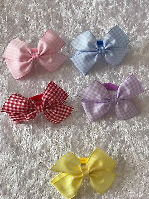 Pair of Gingham Nylon Hair Bobbles School Girls Toddler Baby Hair Bands 6CM