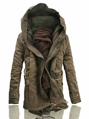 Fashion NEW Winter Men Military Trench Coat Ski Jacket Hooded Parka Thick Cotton