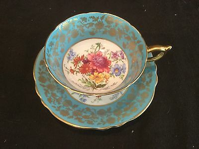 Paragon /england Teal Blue And Gold Tea Cup And Saucer Floral A503/2