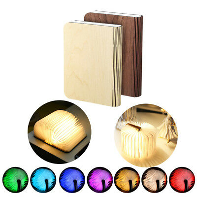 LED Folding Book Lamp Lumio Style Portable Wooden USB Rechargeable Night Light